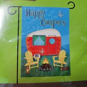 """Happy Campers Small Garden Flag 12.5 X 18"""" Camping"""